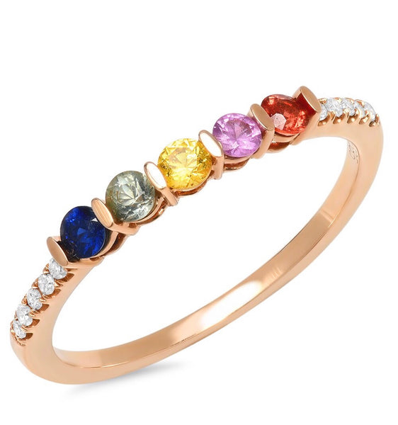 14K Gold Diamond and Rainbow Sapphire eternity Band