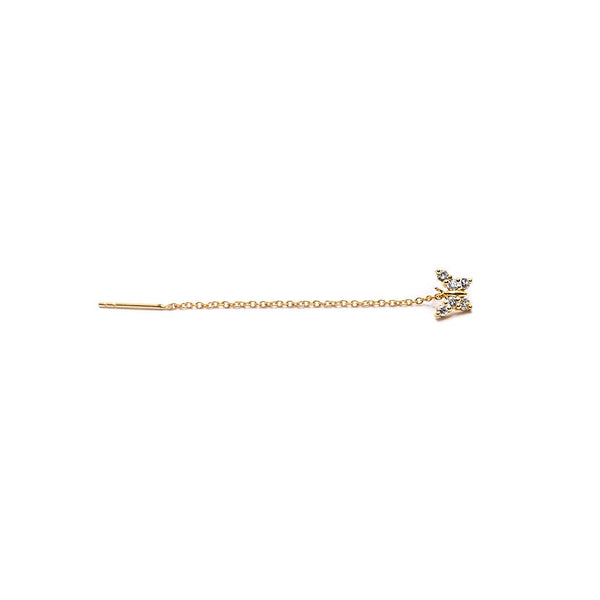 14K Gold Diamond Butterfly Threader Stud