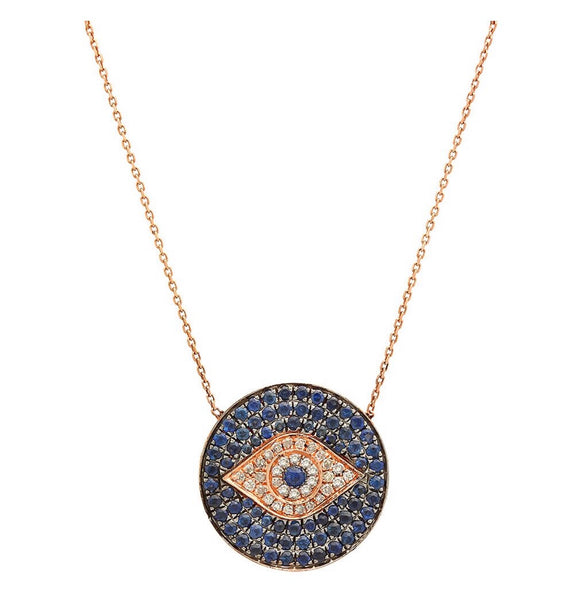 14K Gold Blue Sapphire Diamond Evil Eye Coin Necklace