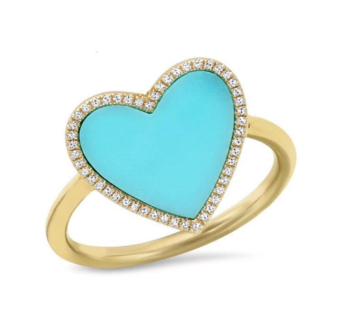 14K Gold Turquoise Diamond Heart Ring