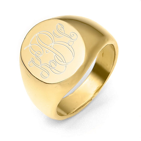 14K Gold Signet Ring Large