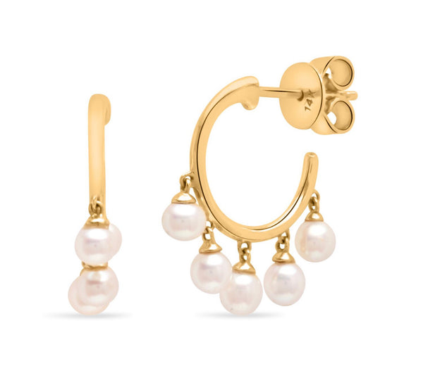 14K Yellow Gold pearl charm Huggies