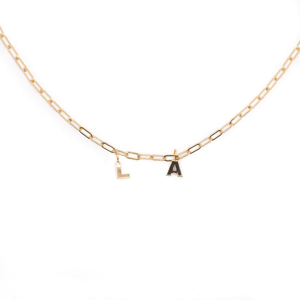14K Gold Paperclip Chain with block letter charm