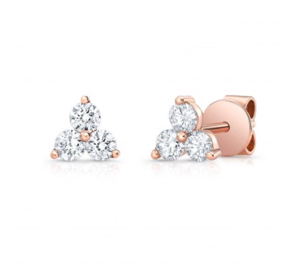 14K Rose Gold Diamond Trio Stud