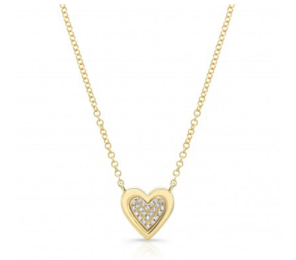 PAVE HEART WITH SOLID EDGE
