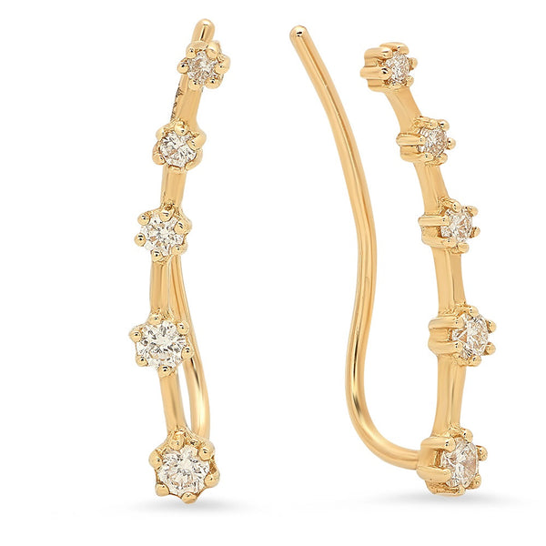 14k Yellow Gold Diamond Ear Climbers