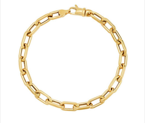 14K Yellow Gold Paperclip Chain Bracelet