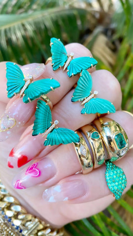 14K Gold Malachite & Diamond Butterfly Ring