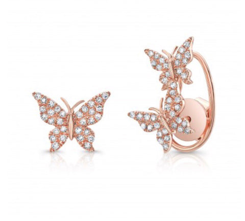 14K Gold Diamond Butterfly Studs