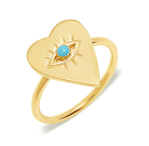 14K Gold Turquoise Heart Evil Eye Ring