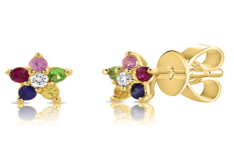 14K Gold tiny Rainbow Sapphire Flower Stud Earrings