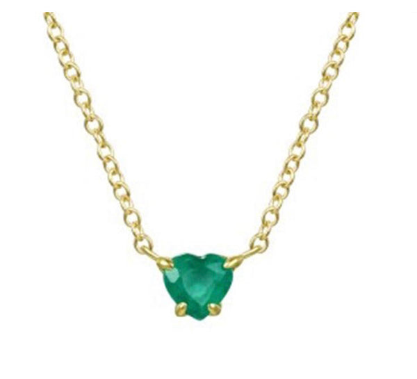 14K Gold Gemstome Heart Necklace