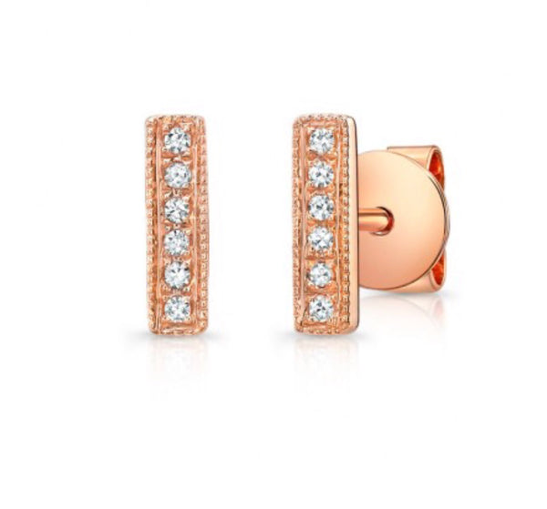 14K Rose Gold Tiny Stick Studs