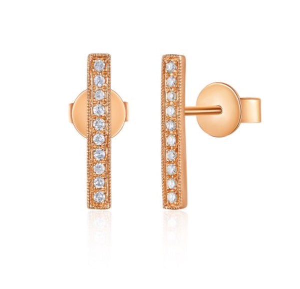 14K Rose Gold Diamond Stick Stud