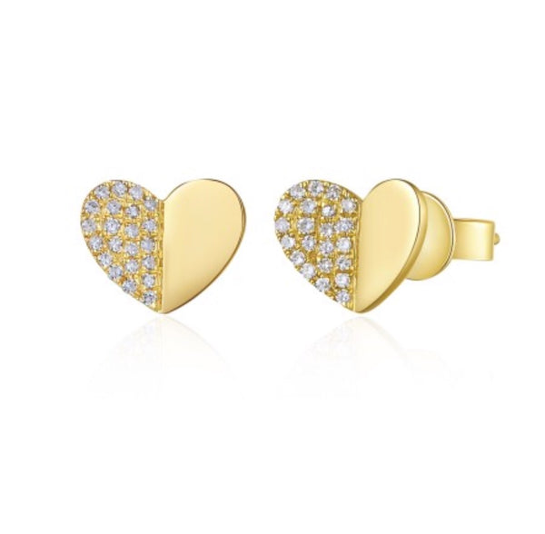 14K Yellow Gold Folded Heart Studs