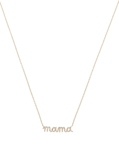 14K Gold Diamond mama Script Necklace