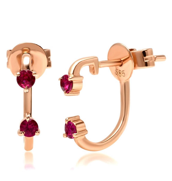 14K Gold Double Ruby Ear Jacket Stud