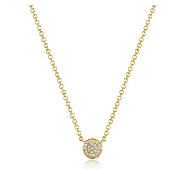 SMALL FLAT PAVE DISC NECKLACE