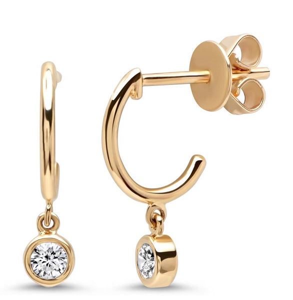 14K Gold Bezel Diamond Charm Huggies