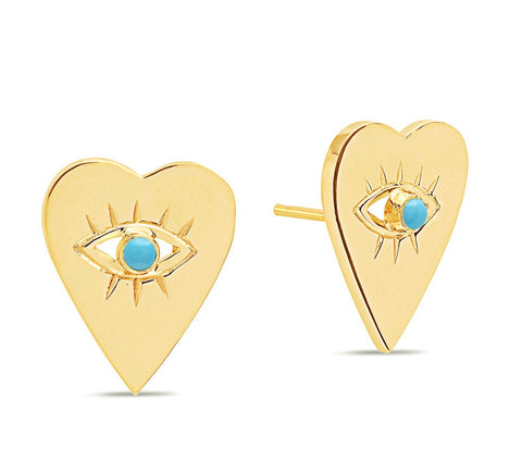 14K Gold Turquoise Heart Evil Eye Studs