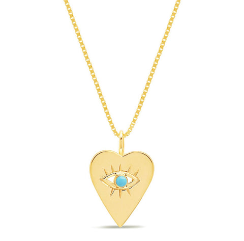 14K Gold Turquoise  Heart Evil Eye Necklace