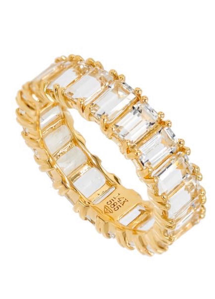 14K Yellow Gold White Topaz Emerald cut Eternity Band