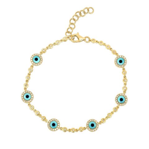 14K Yellow Gold Diamond Turquoise Evil Eye Bracelet