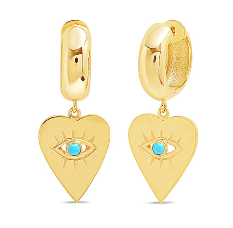 14K Gold Turquoise Heart Evil Eye Charm Huggies