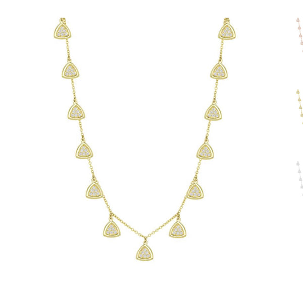14K Yellow Gold Diamond Triangle Charm Necklace