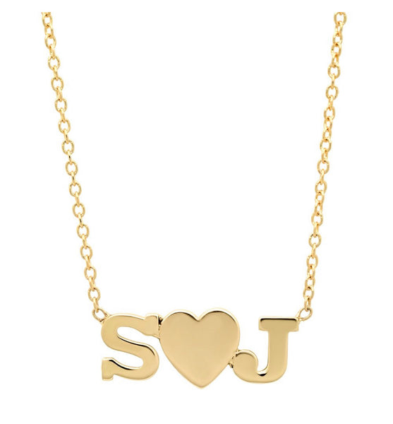 14K Gold Initial and Heart Necklace