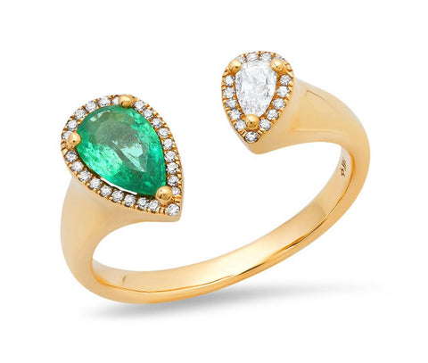 14K Gold Pear Shaped Emerald and Diamond Open Ring