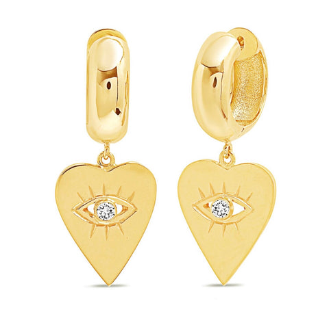 14K Gold Diamond Heart Evil Eye Charm Huggies