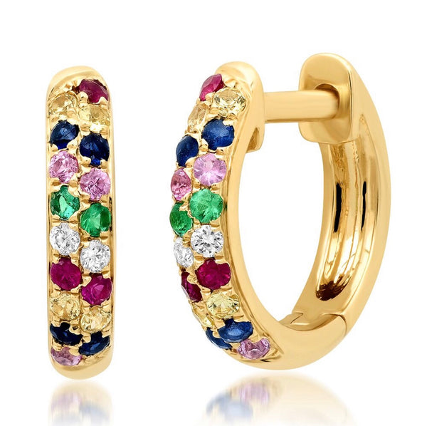 14K Gold Small Rainbow Sapphire thick Huggies
