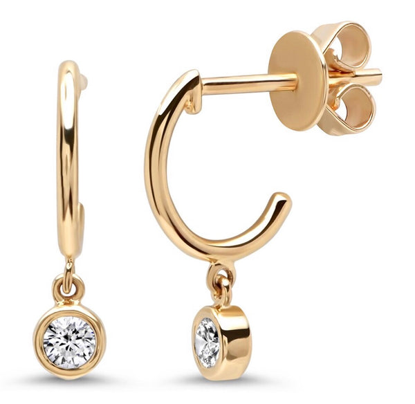 14K Gold Huggies with Bezel Diamond Charm