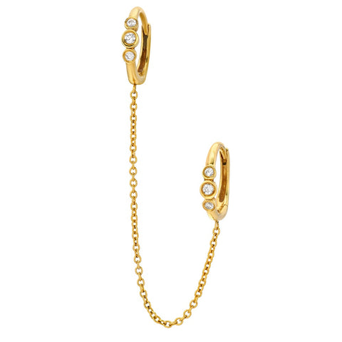 14K Gold Diamond Chain Link Huggies