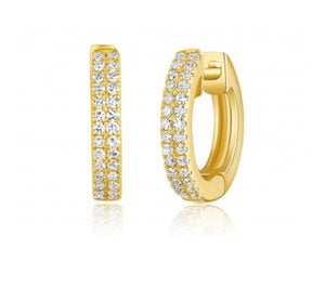14K Yellow Gold Double Diamond Row Huggies