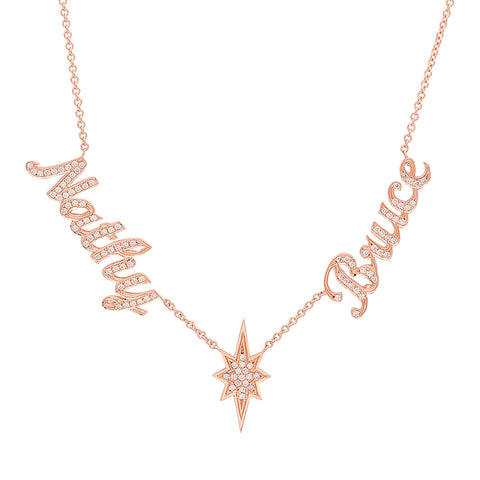 14K Rose Gold Diamond Name Necklace