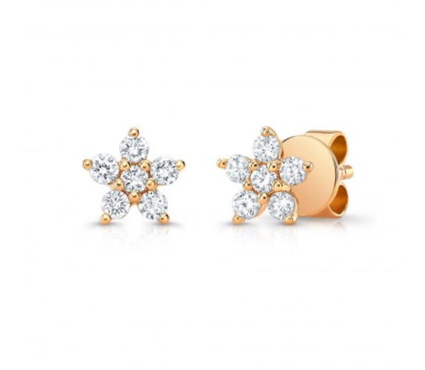 14K Rose Gold Diamond Flower Studs