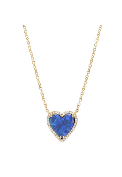 14K Yellow Gold Opal Diamond Heart Necklace