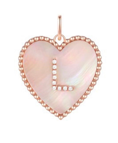 14K Gold Mother of Pearl Heart Diamond Initial Charm