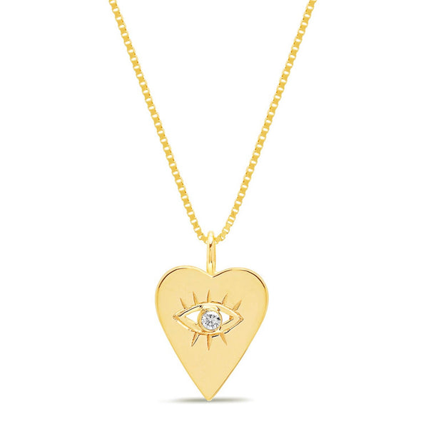 14K Gold Diamond Heart Evil Eye Necklace