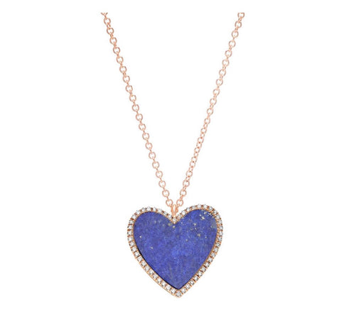 14K Gold Lapis Diamond Heart Necklace