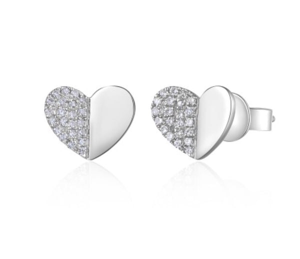 14K White Gold Folded Heart Studs