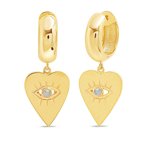 14K Gold Opal Heart Evil Eye Charm Huggies