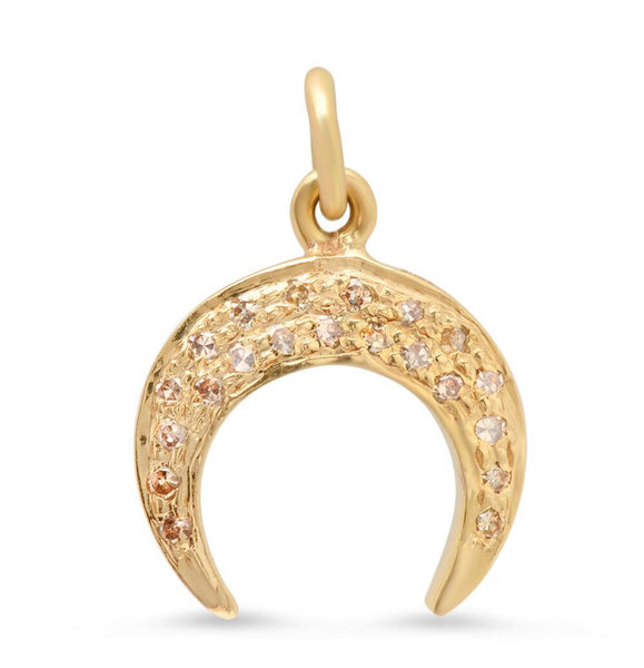 14K Gold Crescent Moon Charm