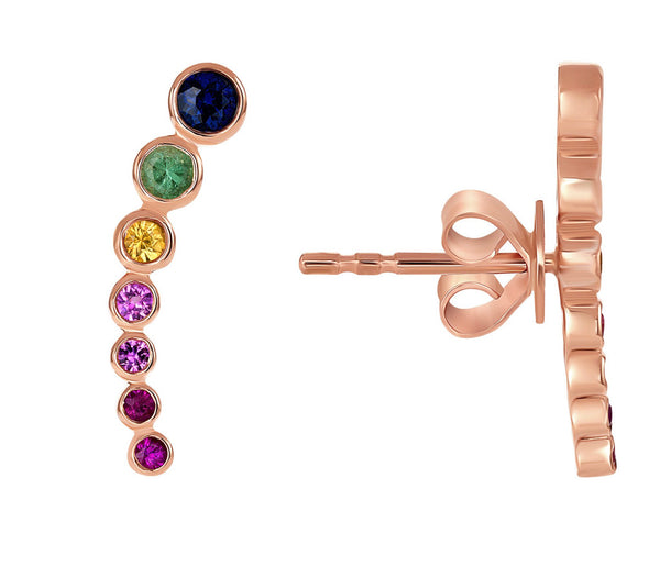 14K ROSE GOLD, RAINBOW MULTI COLOR SAPPHIRE EAR CLIMBERS