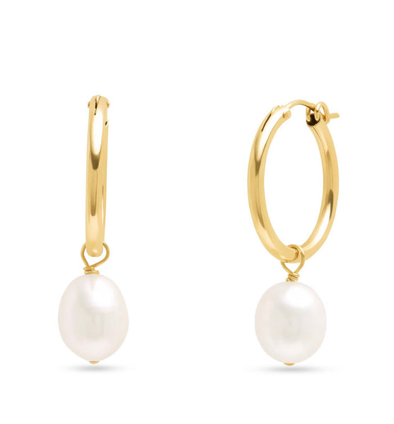 14K Gold Filled Pearl Charm Hoops
