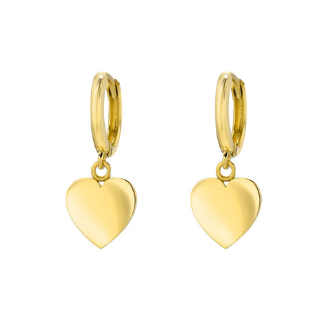 14K Yellow Gold Heart Charm Huggies