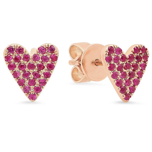 14K Rose Gold Ruby Heart Studs