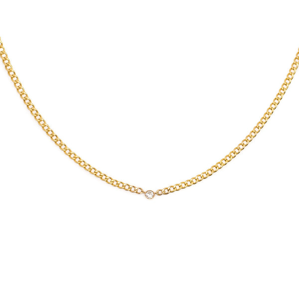 14K Gold Cuban Link Chain With Bezel Set Diamond